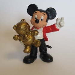Figurine Mickey Mouse met gouden Teddy - Bully Disney 1977 - Comicfiguren te koop bij  StripFigurenShop.be